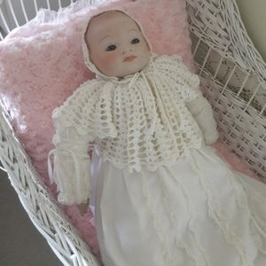 VTG GERMANY, PORCELAIN HEAD 21 IN. DOLL & OUTFIT